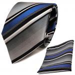TigerTie Krawatte + Einstecktuch in blau silber grau weiss schwarz gestreift