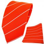 TigerTie Krawatte + Einstecktuch orange leuchtorange neonorange silber gestreift