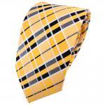 schöne TigerTie Krawatte in gelb goldgelb schwarz silberweiß kariert - Binder
