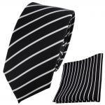 schmale TigerTie Designer Krawatte + Einstecktuch schwarz weiß silber gestreift