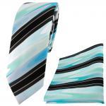 schmale TigerTie Krawatte + Einstecktuch mint grün türkis schwarz grau gestreift