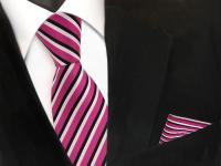 TigerTie Krawatte + Einstecktuch pink telemagenta schwarz weiß gestreift