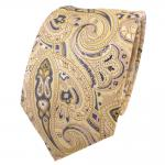 Designer Krawatte gelb gold beige sandgelb anthrazit Paisley - Schlips Binder