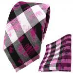 schmale TigerTie Krawatte + Einstecktuch in pink grau silber schwarz gestreift
