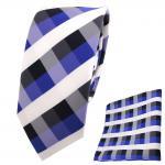 schmale TigerTie Krawatte + Einstecktuch blau royal kobaltblau weiß kariert