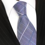 Designer Seidenkrawatte in blau silber weiss kariert - Krawatte 100% Seide