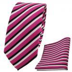 Schmale TigerTie Designer Krawatte + Einstecktuch pink schwarz weiß gestreift