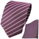TigerTie Krawatte + Einstecktuch pflaume violett silberweiß schwarz gestreift