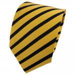 TigerTie Seidenkrawatte gelb goldgelb blau schwarzblau gestreift - Krawatte Silk
