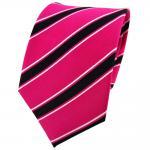 TigerTie Seidenkrawatte pink knallpink schwarz weiß gestreift - Krawatte Seide