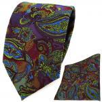 TigerTie Designer Krawatte + Einstecktuch violett olive blau rot Paisley