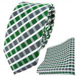 schmale TigerTie Krawatte + Einstecktuch in grün grau silber weiss gestreift