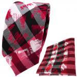 schmale TigerTie Krawatte + Einstecktuch in weinrot rot silber schwarz gestreift