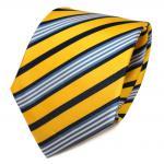 TigerTie Seidenkrawatte gelb goldgelb royal grau weiß gestreift - Krawatte Tie