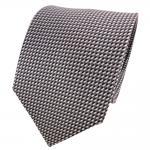 TigerTie Seidenkrawatte grau anthrazit silber schwarz gepunktet - Krawatte Seide
