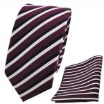 Schmale TigerTie Designer Krawatte + Einstecktuch lila violett schwarz weiß gestreift