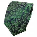 TigerTie Seidenkrawatte grün smaragdgrün dunkelblau gemustert - Krawatte Seide