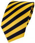 TigerTie Designer Seidenkrawatte gelb goldgelb royal gestreift - Krawatte Seide