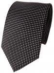 TigerTie Designer Seidenkrawatte schwarz silber gepunktet - Krawatte 100% Seide