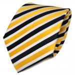 TigerTie Seidenkrawatte gelb goldgelb royal weiß gestreift - Krawatte Seide Tie