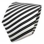 TigerTie Designer Seidenkrawatte schwarz weiß creme gestreift - Krawatte Seide