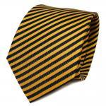 TigerTie Designer Seidenkrawatte gelb sonnengelb royal gestreift- Krawatte Seide