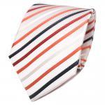TigerTie Designer Seidenkrawatte weiß orange royal gestreift - Krawatte Seide