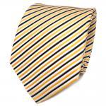 TigerTie Designer Seidenkrawatte gelb schwarz weiß gestreift - Krawatte Seide