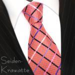 Designer Satin Seidenkrawatte orange blutorange rosa lila schwarz creme kariert