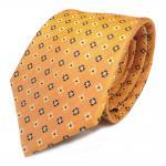 Seidenkrawatte gelb goldgelb anthrazit geblümt - Krawatte 100 % Seide Silk