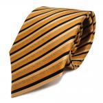 Schicke Seidenkrawatte gold beige schwarz gestreift - Krawatte 100 % Seide