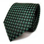 Designer Seidenkrawatte grün patinagrün schwarz silber Karomuster - Krawatte