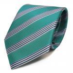 Elegante Krawatte - Schlips Binder grün blau schwarz weiss gestreift - Tie