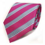TigerTie Krawatte - Schlips Binder pink blau schwarz weiss gestreift - Tie