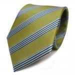 Designer Krawatte olivgrün grün blau schwarz weiß gestreift - Schlips Binder Tie
