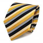 Designer Seidenkrawatte gelb sonnengelb goldgelb blau weiss gestreift - Krawatte