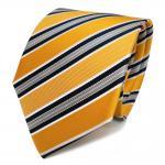 TigerTie Seidenkrawatte gelb goldgelb grau blau weiß gestreift - Krawatte Seide