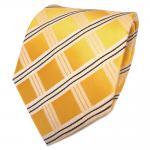 TigerTie Designer Seidenkrawatte gelb maisgelb schwarz kariert - Krawatte Seide