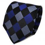 TigerTie Seidenkrawatte blau pastellblau schwarz gemustert - Krawatte Seide