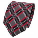 TigerTie Designer Seidenkrawatte grau anthrazit rot schwarz kariert - Krawatte