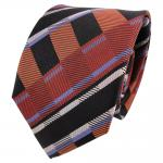 TigerTie Designer Seidenkrawatte braun kupfer schwarz gestreift - Krawatte Seide