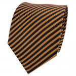 TigerTie Designer Seidenkrawatte braun goldbraun royal gestreift- Krawatte Seide
