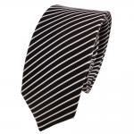 Schmale TigerTie Designer Seidenkrawatte schwarz silber gestreift - Krawatte