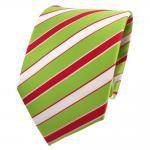 Designer Krawatte grün hellgrün rot weiß gestreift - Schlips Binder Tie