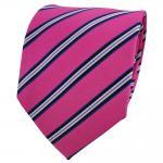 Designer Seidenkrawatte pink telemagenta blau schwarz creme gestreift - Krawatte