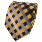 TigerTie Seidenkrawatte gelb grau silber anthrazit kariert - Krawatte Seide Silk