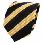 TigerTie Seidenkrawatte gelb schwarz weiß gestreift - Krawatte Seide Silk