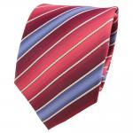Seidenkrawatte rot rosé himbeerrot creme schwarz gestreift - Krawatte Seide