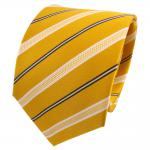 TigerTie Seidenkrawatte gelb sonnengelb blau weiß gestreift - Krawatte Seide