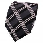 TigerTie Seidenkrawatte schwarz anthrazit grau silber kariert - Krawatte Seide
